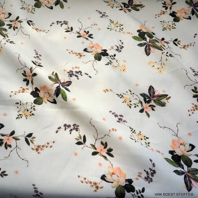 Exclusive linen fabric printed with delicate flowers & leaves