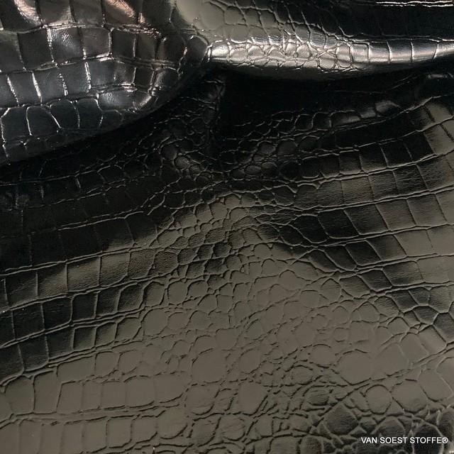 Exklusives Schlangenlackleder Imitat in Schwarz - Abseite Jeans Anthrazit