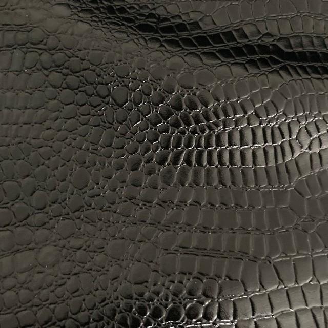 Exklusives Schlangenlackleder Imitat in Schwarz - Abseite Softfleece Schwarz