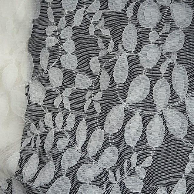 Feines Baumwolle-Nylon Blätter Soft Spitzen Dessin in Ivory | Ansicht: Feines Baumwolle-Nylon Blätter Soft Spitzen Dessin in Ivory
