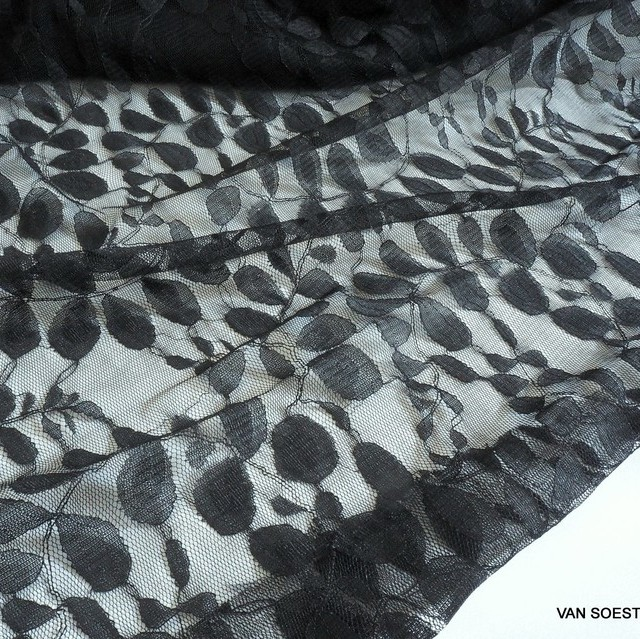 Feines Baumwolle-Nylon Blätter Soft Spitzen Dessin in Schwarz | Ansicht: Feines Baumwolle-Nylon Blätter Soft Spitzen Dessin in Schwarz