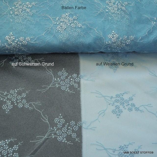 Fluttering fine mini flowers on tone in tone light blue tulle | View: Fluttering fine mini flowers on tone in tone light blue tulle