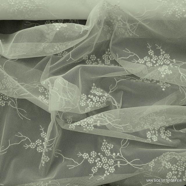 Flatternde feine mini Blümchen in Ivory auf Ton in Ton Tüll | Ansicht: Flatternde feine mini Blümchen in Ivory auf Ton in Ton Tüll