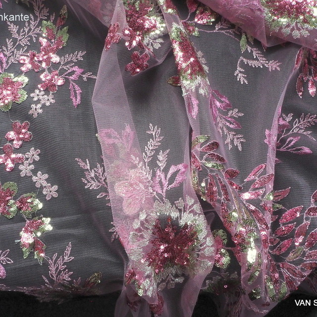 Flower Pailletten Couture Spitze in Rosa -Pink | Ansicht: Flower Pailletten Couture Spitze in Rosa