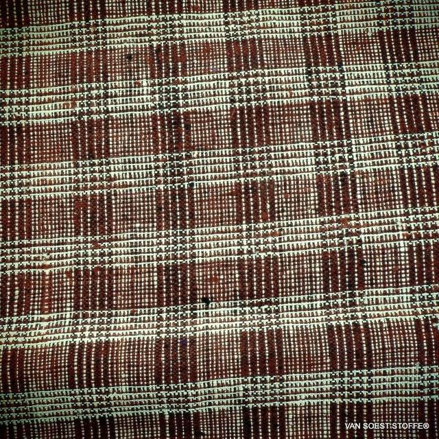Französischer Couture Seide-Baumwolle Prince de Galles in Schoko-Creme | Ansicht: Französischer Couture Seide-Baumwolle Prince de Galles in Schoko-Creme