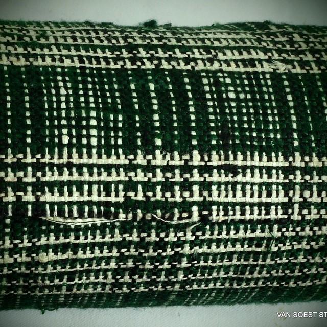 Französischer Couture Seide-Baumwolle Prince de Galles in Tannengrün-Creme | Ansicht: Französischer Couture Seide-Baumwolle Prince de Galles in Tannengrün-Creme