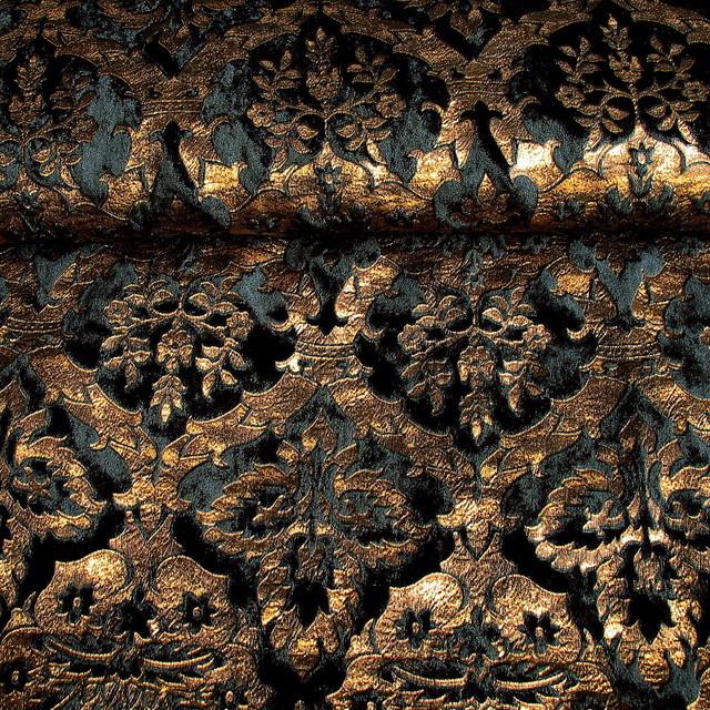GOLD BROKAT-IMITAT SAMT IN SCHWARZ - GOLD   Ansicht: Gold Brokat-Imitat Samt in Schwarz Gold