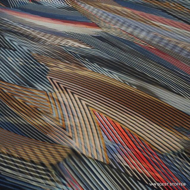 Geometric Streifen Fantasie auf Stretch Jersey | Ansicht: Geometric Streifen Fantasie auf Stretch Jersey