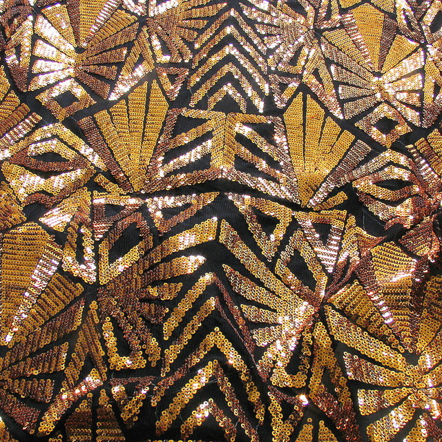 Geometrica Fantastica Dunkel Gold Kupfer Bestickte Spitzen