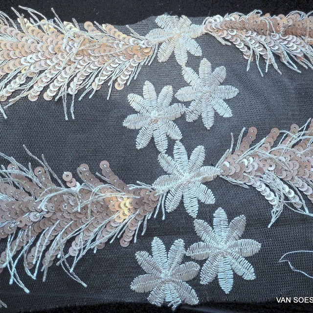 Gold -Champagne sequins fringes and flowers fabric on fine tulle