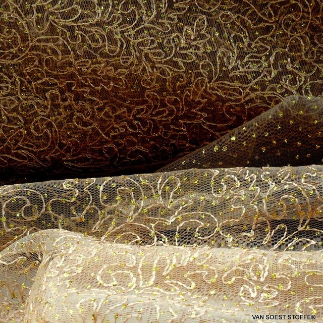 Gold Glitter embroidery on gold colored tulle | View: Tone on tone Gold Glitter embroidery without pearls on gold colored tulle