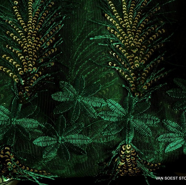 Gold-green special sequins fringes and flowers fabric on fine tulle
