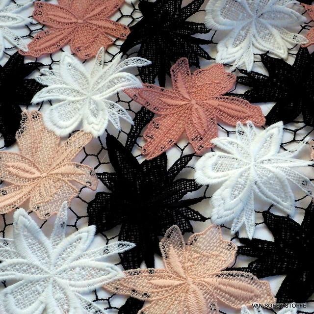 Guipure 3 D Spitze in 4-farbigen Blumen auf grobem schwarzen Netz