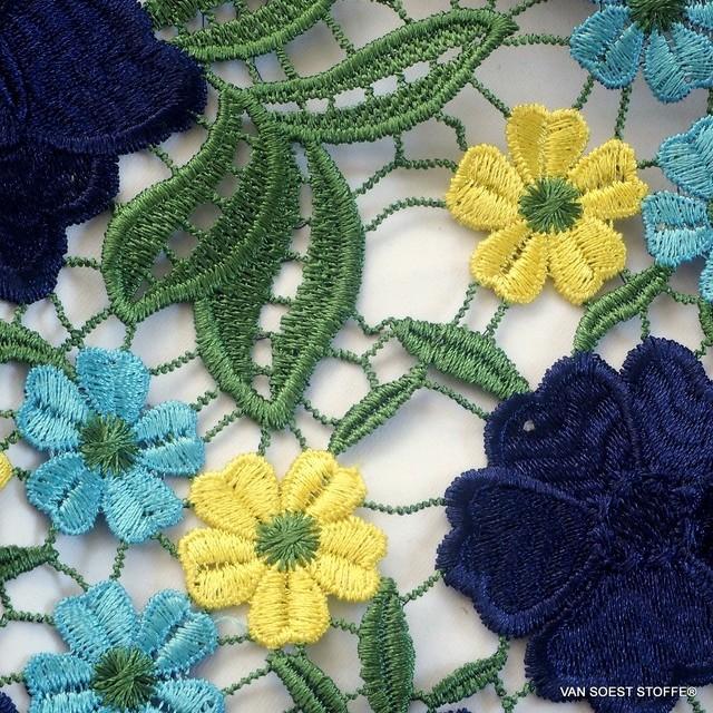 Guipure Blumen un Blätter Spitze in dreifarbiges Marine-Gelb-Bleu