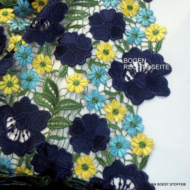 Guipure Blumen un Blätter Spitze in dreifarbiges Marine-Gelb-Bleu | Ansicht: Guipure Blumen un Blätter Spitze in dreifarbiges Marine-Gelb-Bleu