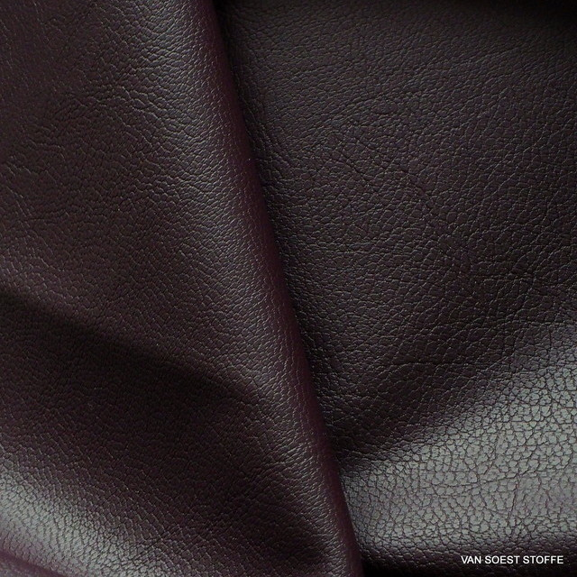 Hi-Stretch imitation leather in dark burgundy