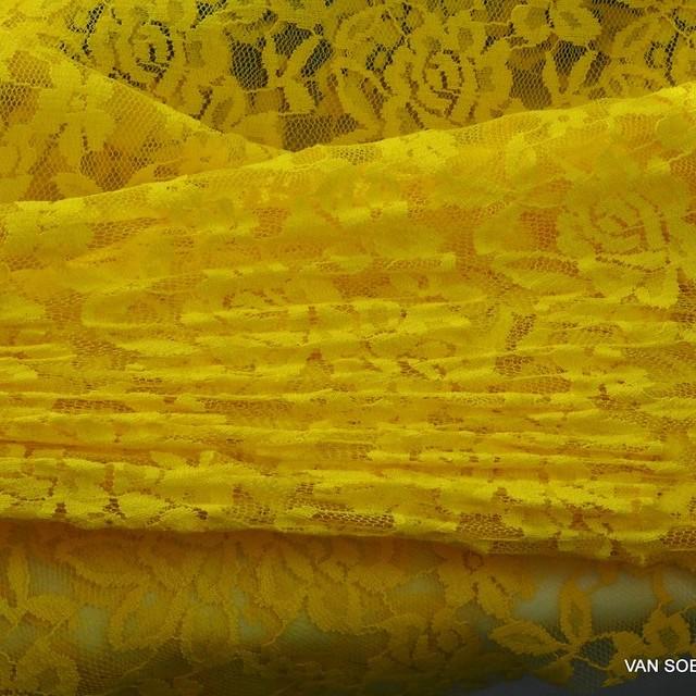 Hoch Elastische Gemini Spitze in Ocker Gelb | Ansicht: Hoch Elastische Gemini Spitze in Ocker Gelb