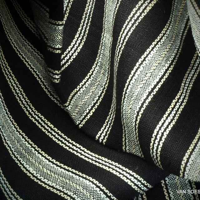 High quality 100% Dobby linen longitudinal stripes in black and white