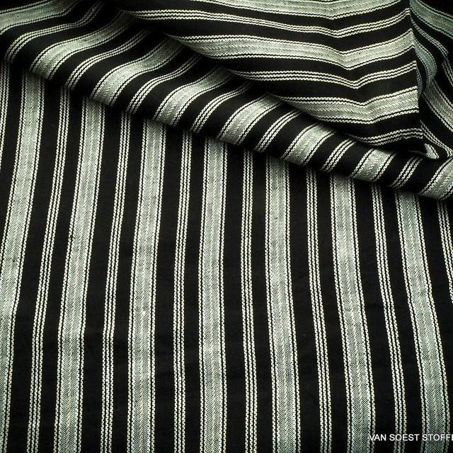 Hochwertiger 100%  Dobby Leinen Längs Streifen in Schwarz-Weiß | Ansicht: Hochwertiger 100%  Dobby Leinen Längs Streifen in Schwarz-Weiß