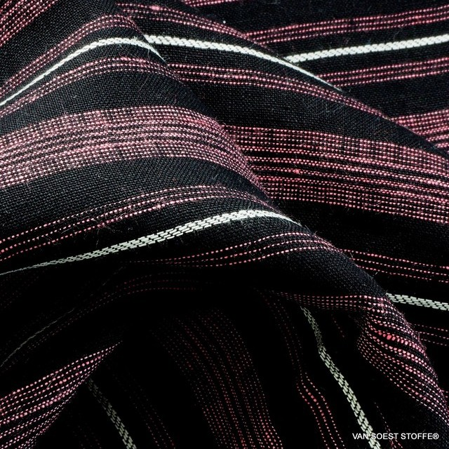High quality 100% Dobby linen stripes in pink black and white