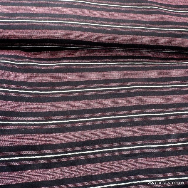 High quality 100% Dobby linen stripes in pink black and white | View: High quality 100% Dobby linen stripes in pink black and white