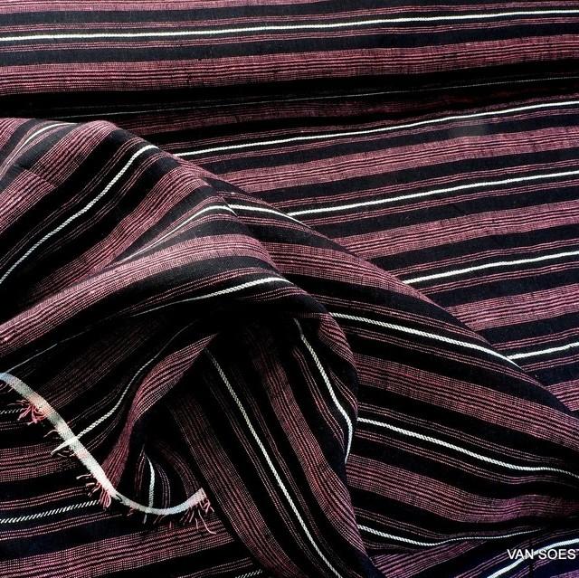 Hochwertiger 100%  Dobby Leinen Streifen in Rosa Schwarz-Weiß | Ansicht: Hochwertiger 100%  Dobby Leinen Streifen in Rosa Schwarz-Weiß