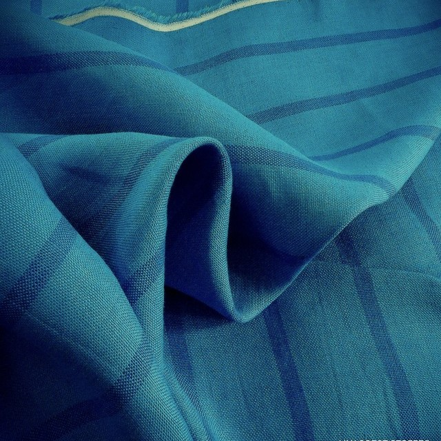 High Quality 100% Dobby Linen Long Stripe in Aqua Blue | View: High Quality 100% Dobby Linen Long Stripe in Aqua Blue