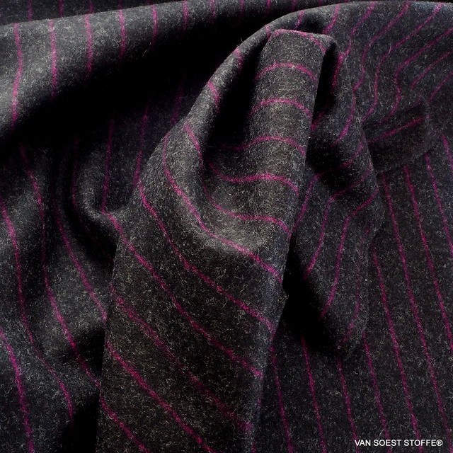 High quality virgin wool pinstripe in pink anthracite