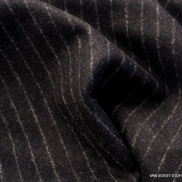 High-quality new wool pinstripe in black-silver