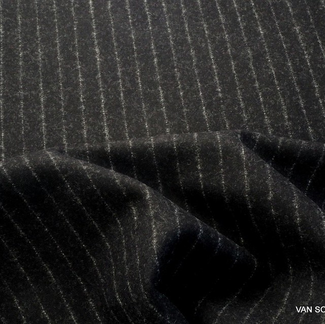 High-quality new wool pinstripe in black-silver | View: High-quality new wool pinstripe in black-silver