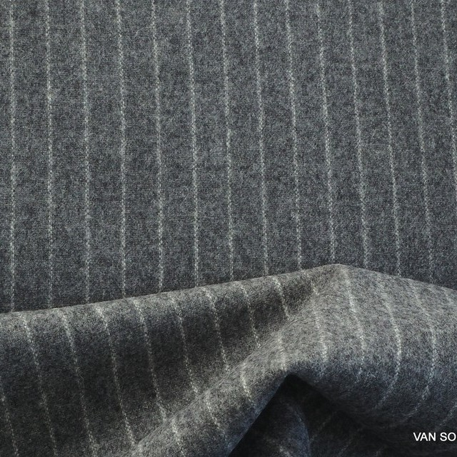 High quality virgin wool pinstripe in grey - white | View: High quality virgin wool pinstripe in grey - white