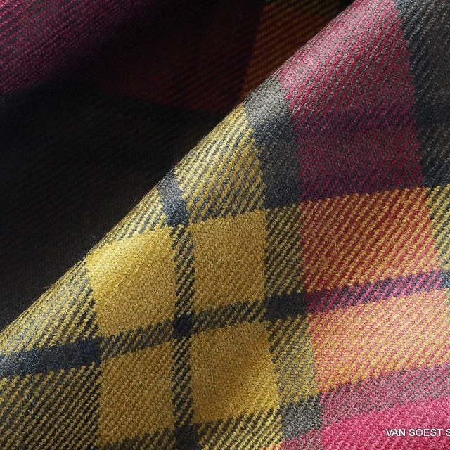 High-quality new wool check in ocher-burgundy-olive