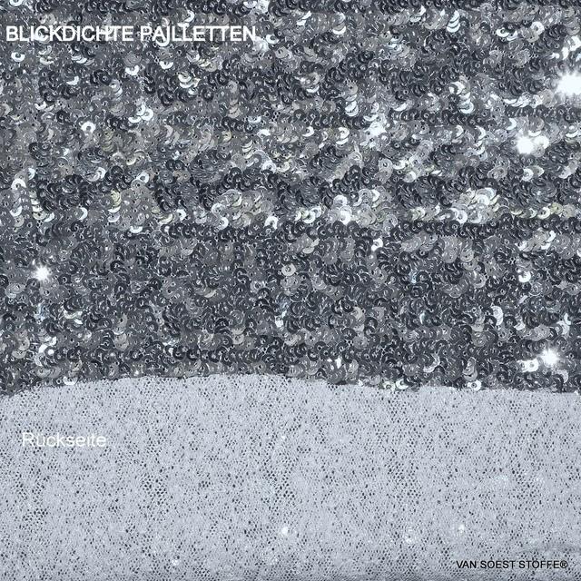 Hochwertiges blickdichtes mini Pailletten Dessin in Silber | Ansicht: Hochwertiges Pailletten Dessin in Silber