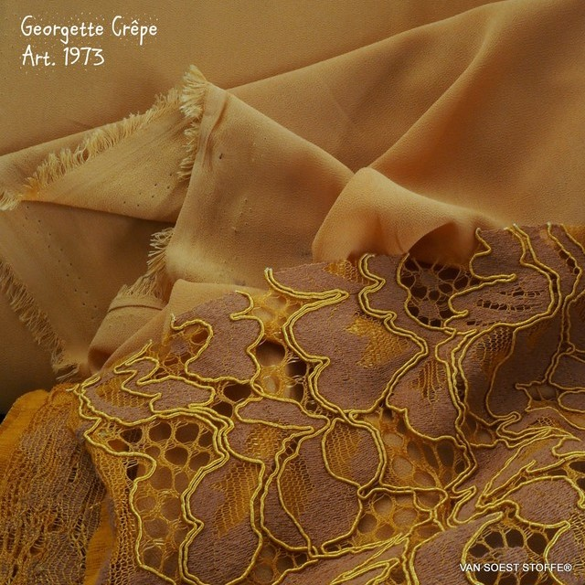 INKA crepe georgette in honey color. | View: INKA crepe georgette in honey color.
