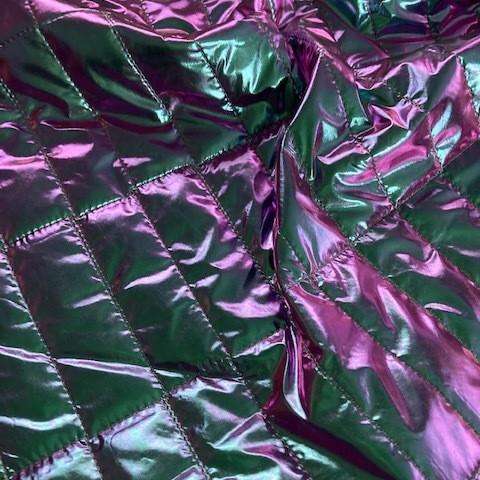 Irisierende gesteppte gefütterte Ware mint silber pink Metallic-Glanz