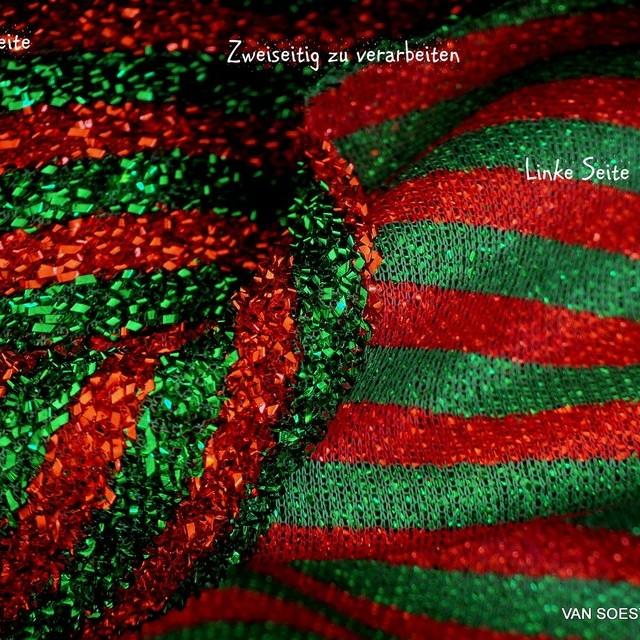 Italienischer Coccarda Stretch Maschen Glitter Streifen in Verde-Rosso - Grün-Rot. | Ansicht: Italienischer Coccarda Stretch Maschen Glitter Streifen in Verde-Rosso - Grün-Rot.