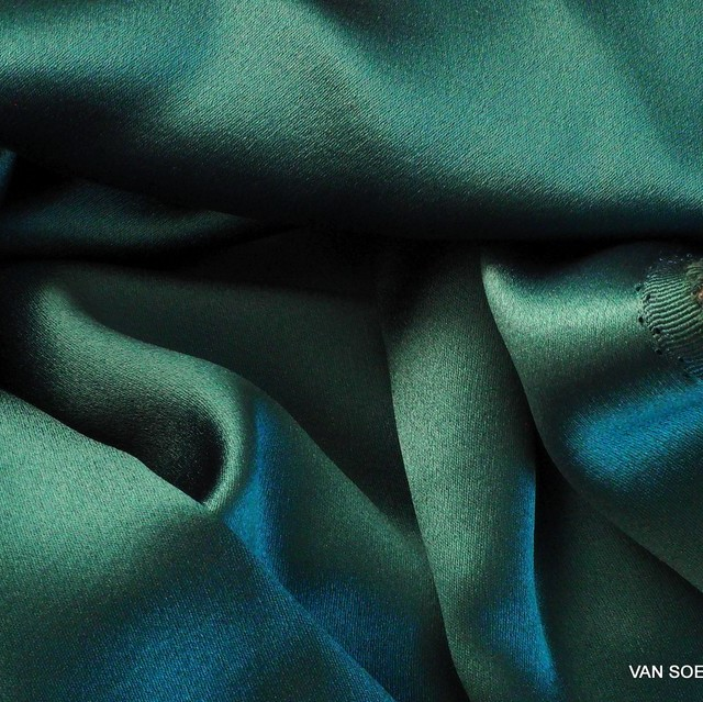 Italian heavy crepe satin in dark green