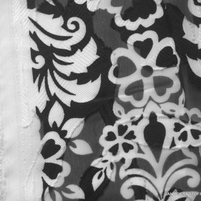 Jacquard Lancé-Découpé imprimé mit floralem Ornament Muster Schwarz Weiss   Ansicht: Jacquard Lancé-Découpé imprimé mit floralem Ornament Muster Schwarz Weiss