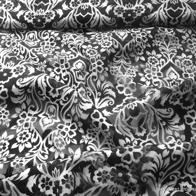 Jacquard Lancé-Découpé imprimé mit floralem Ornament Muster Schwarz Weiss