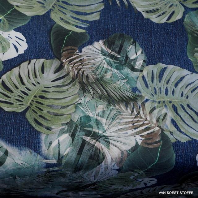 Jeans Jungleprint auf 100% feiner Baumwolle | Ansicht: Jeans Blätterdruck auf 100% feiner Baumwolle