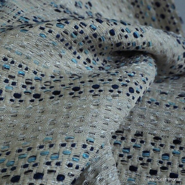 Jeans tweed with woven silver thread