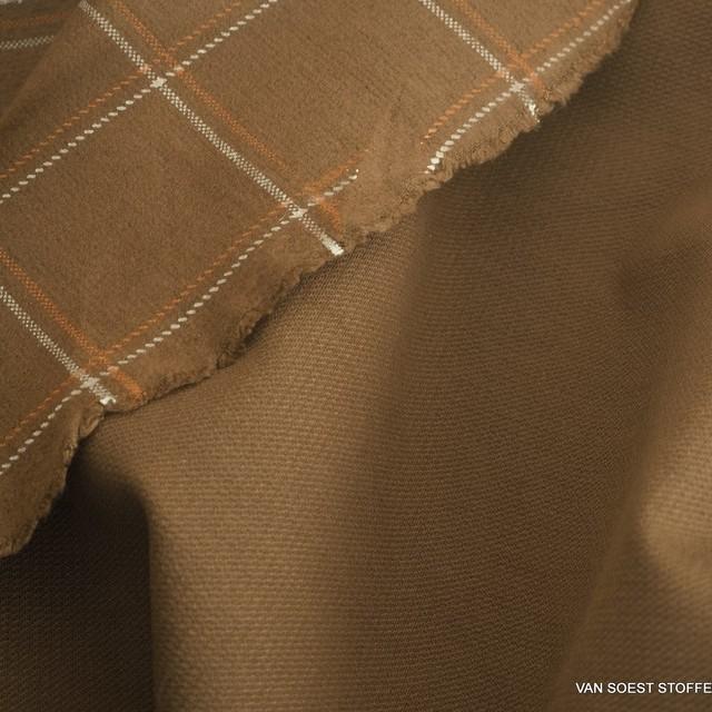 Karoprint auf Camel farbenen robusten Stretch Flanell | Ansicht: Karoprint auf Camel farbenen robusten Stretch Flanell