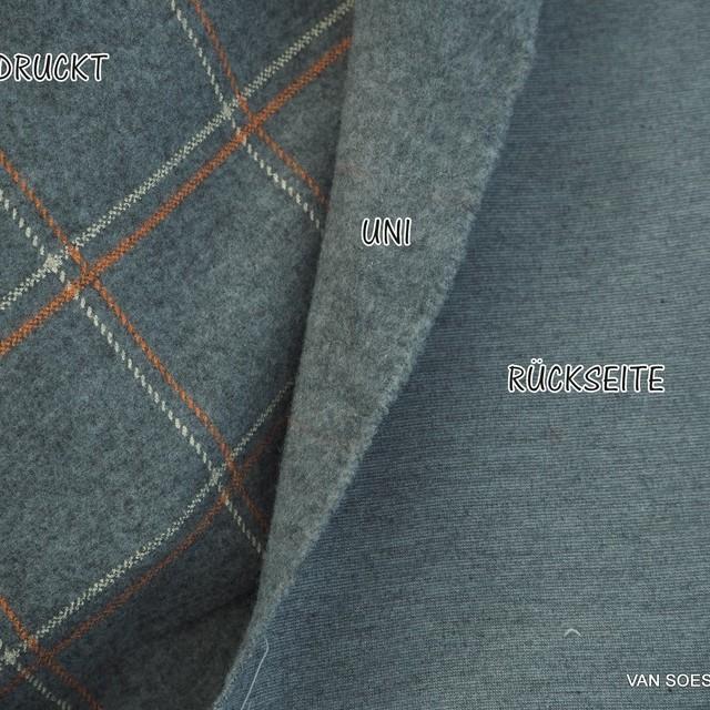 Karoprint auf Melange Grau farbigem robusten Stretch Flannell | Ansicht: Karoprint auf Melange Grau farbigem robusten Stretch Flannell