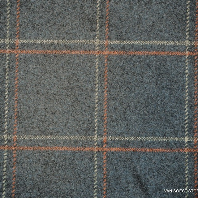 Karoprint auf Melange Grau farbigem robusten Stretch Flannell