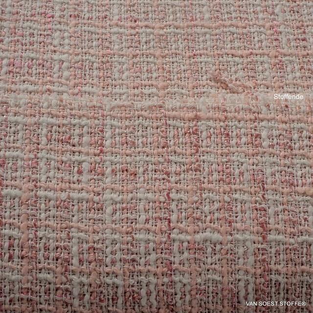 Melange Stretch Tweed in Rosa + Rot + Creme