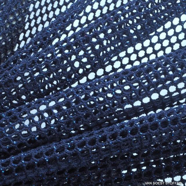 Mesh Laminata Twist -High Stretch- Marine Blau mit Royalblauen eingewirkten Glanzpartikeln