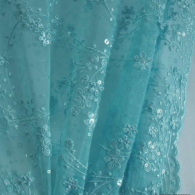 Mini vines and 3D flowers including shiny mini sequins on tulle Light Blue
