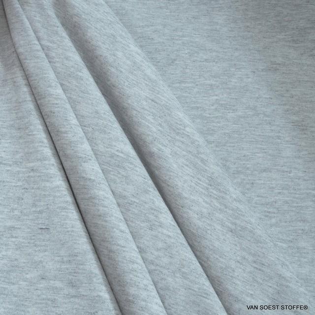 Modal High Stretch Jersey in light melange grey - Sportswear - T-Shirts - Underwear Yoga Wellness   Ansicht: Modal High Stretch Jersey in light melange grey - Sportswear - T-Shirt
