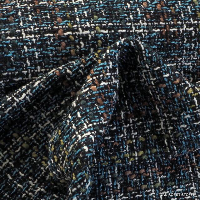 Modestoff Italien Bouclé Tweed in Oliv-Azur-Schwarz