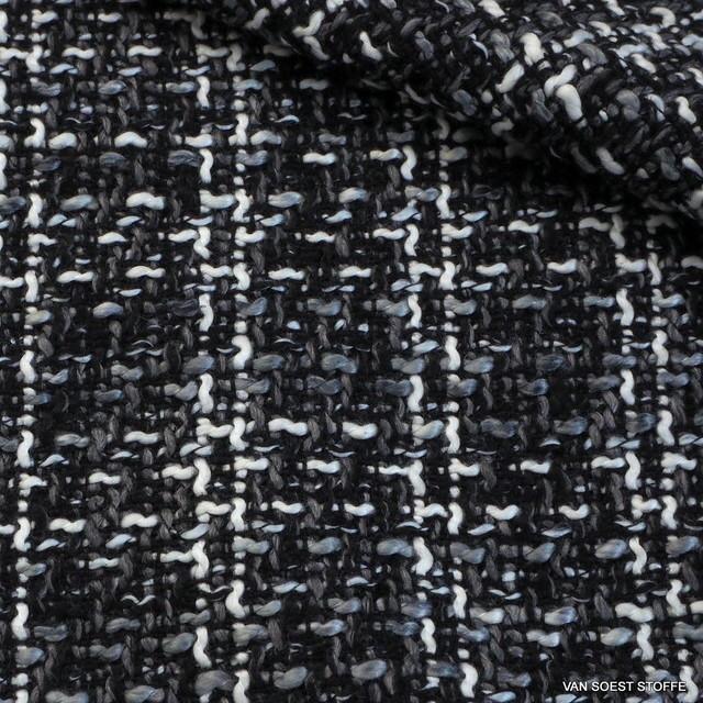 Modestoff Italien Bouclé Tweed in Schwarz-Weiß